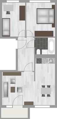 Grundriss: 3-Raum-Wohnung Schilfstraße 3