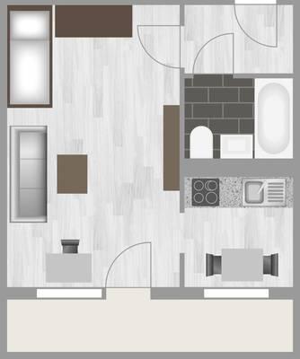 Grundriss: 1-Raum-Wohnung Lindenweg 12
