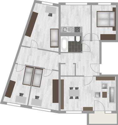 Grundriss: 5-Raum-Wohnung Genthiner Straße 8