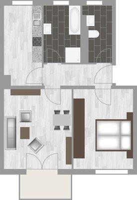 Grundriss: 2-Raum-Wohnung Bukarester Straße 3