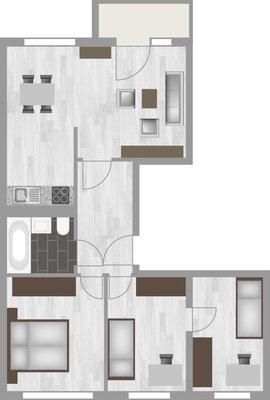 Grundriss: 4-Raum-Wohnung Schilfstraße 15