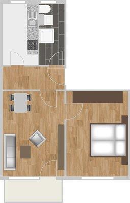 Grundriss: 2-Raum-Wohnung Victor-Klemperer-Straße 18