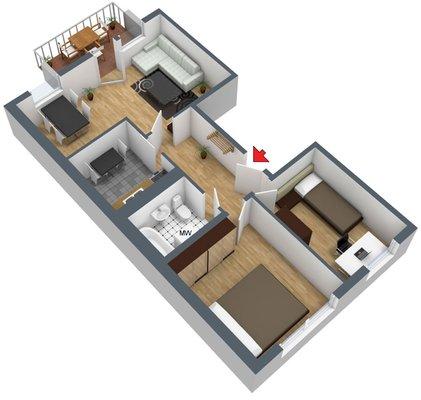 Grundriss: 3-Raum-Wohnung Voßstraße 7