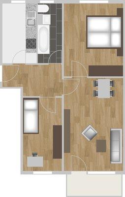 Grundriss: 3-Raum-Wohnung Victor-Klemperer-Straße 24